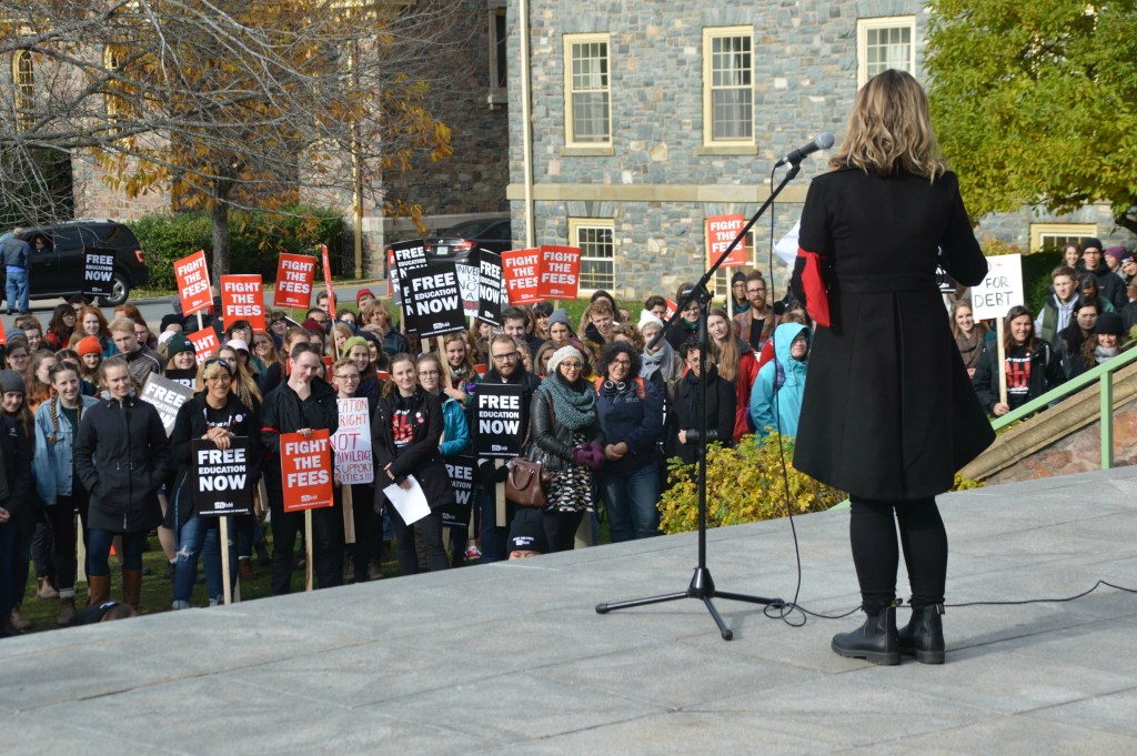 Gina Grattan, External VP of the King's Students' Union leading the rally. (Photo: Hannah Daley)