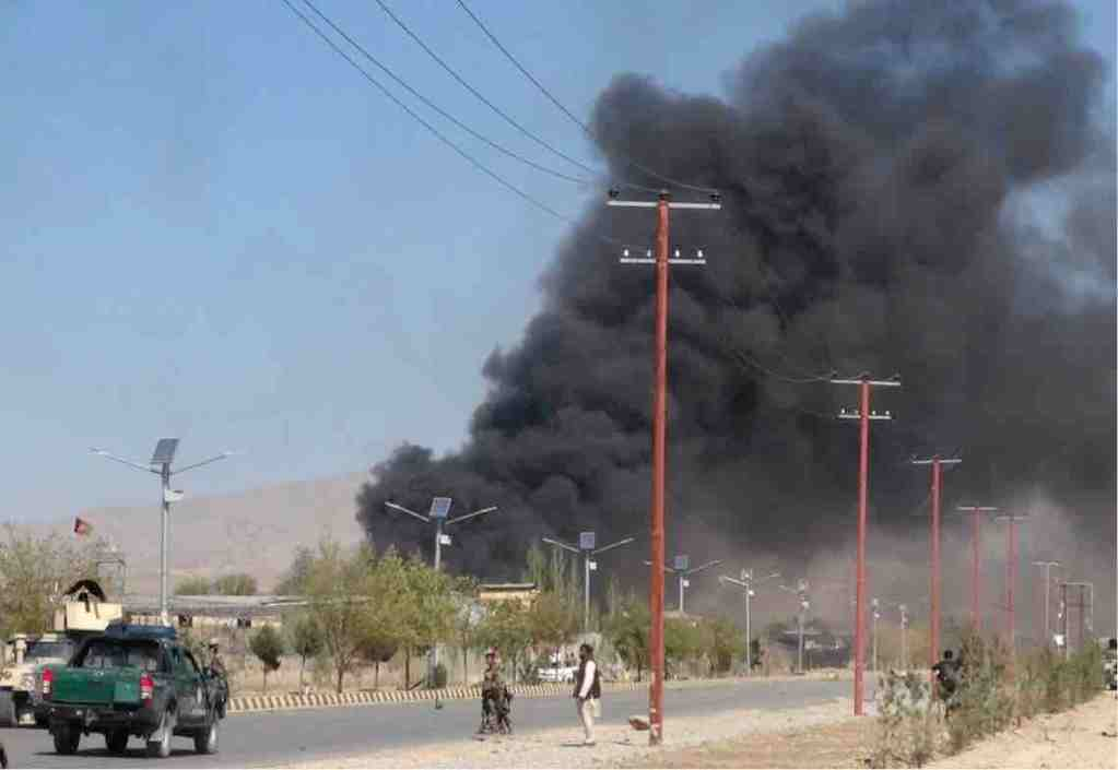 Smoke rises from a police compound in Gardez, Afghanistan, that was attacked by Taliban militants on Oct. 17, 2017. (Reuters)
