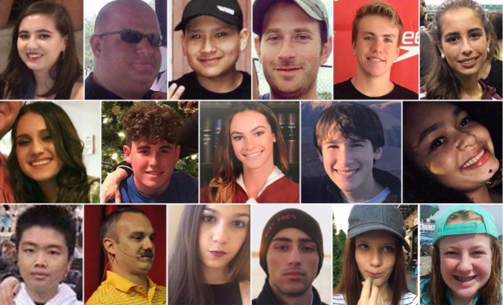 Photos of the 17 people killed by a gunman with an AR-15 assault rifle at Marjory Stoneman Douglas High School in Florida on Wednesday. (Courtesy Fox News)