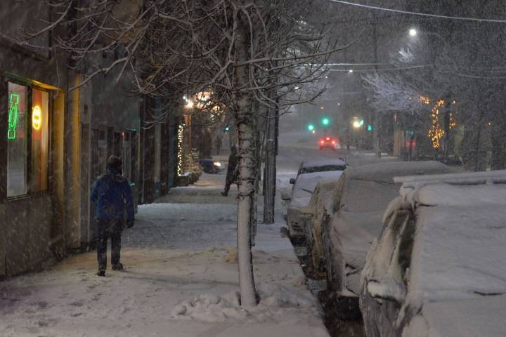 A man makes his way down Gottingen Street in Halifax during a snowstorm on March 10, 2018. (Courtesy Alexander Quon/Global News)