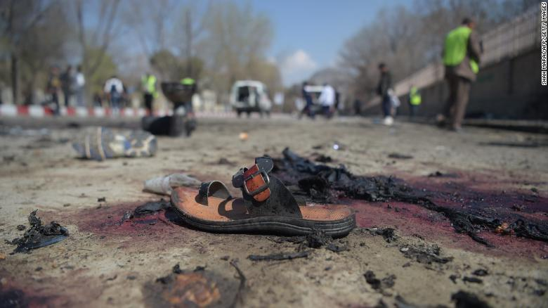 A sandal lies on the ground at the site of a suicide bomb attack in Kabul, Afghanistan, on March 21, 2018. (Courtesy Omar Sobhani/CNN)