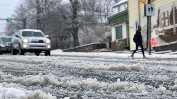 At around noon on Thursday, Halifax roads were covered with a mix of freezing rain and snow. (Courtesy Craig Paisley/CBC)