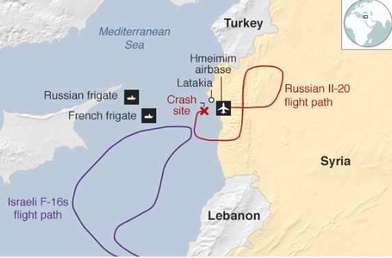 Russian Ministry of Defence map of the incident (Courtesy BBC News for translation from Cyrillic)