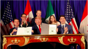 The foreign ministers and heads of state of Canada, US, and Mexico posing for a picture after the signing of the CUMSA trade agreement. Courtesy AP