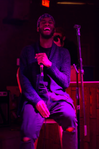 Maje laughing as he jokes with Kayo on stage at the Mayflower on January 27, 2019. (Photo: Alec Martin)